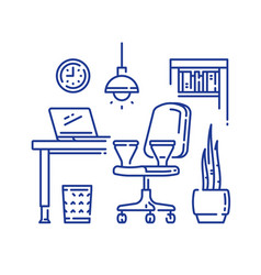 Comfortable workplace office armchair on wheels vector