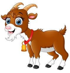 Cute brown goat cartoon vector