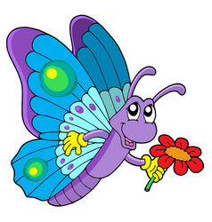 Cute butterfly holding flower vector