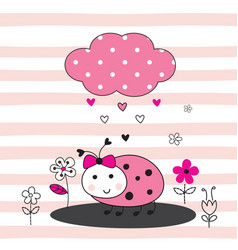 Cute with cartoon ladybug vector