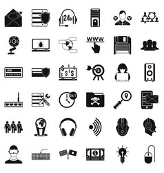 cyber crime icons set simple style vector image
