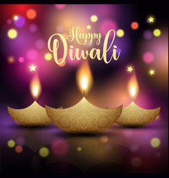 decorative diwali lamp background vector image