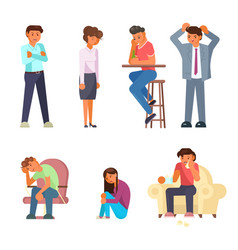 Depressed people icon set flat style design vector