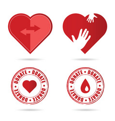 Donate icon with red heart vector