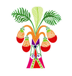 drawing of african palm tree in decorative vector image