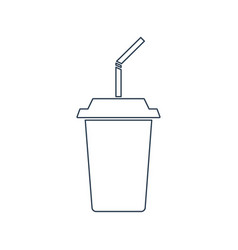 drink with a straw line icontakeaway cup vector image