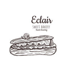 Eclair sketch eclair with raspberries vector