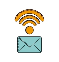 Envelope and wireless waves icon vector