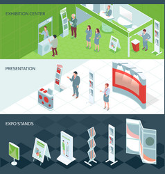 Exhibition center isometric banners vector