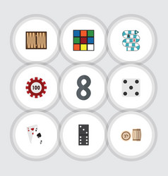 flat icon games set of backgammon multiplayer vector image