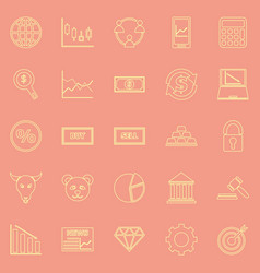 Forex line color icons on orange background vector