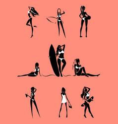 girls rest on beach set vector image