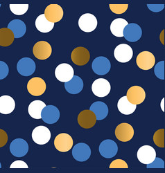 gold and blue polka dot luxury seamless pattern vector image