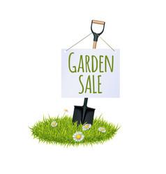 grass and garden shovel vector image