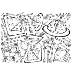 Hand drawn of traditional christmas pudding backgr vector
