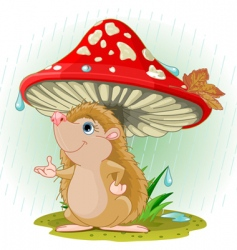 hedgehog under mushroom vector image