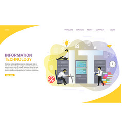 information technology landing page website vector image