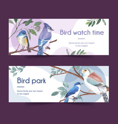 Insect and bird banner design with blue jay vector