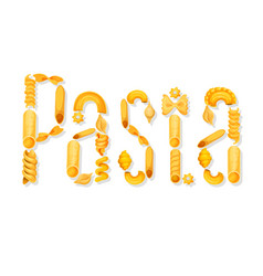 italian pasta text lettering vector image