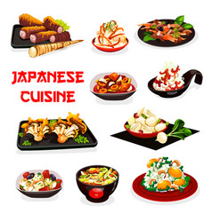 Japanese vegetable salads with meat and seafood vector