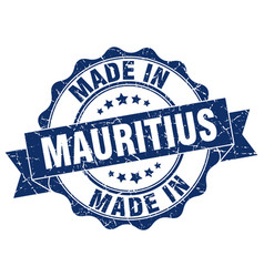 made in mauritius round seal vector image
