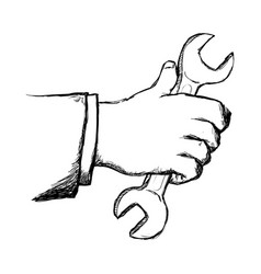 Man hand with tool repair hand drawn vector