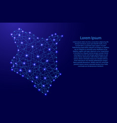 Map of kenya from polygonal blue lines and glowing vector