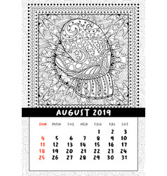 mitten with scenery doodle pattern calendar vector image