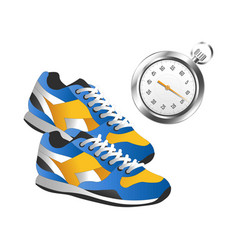 Modern pair of sneakers for sport and silver timer vector