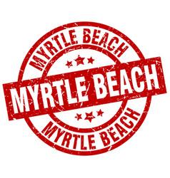 Myrtle beach red round grunge stamp vector