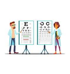 ophthalmologist examining patient eyesight vector image