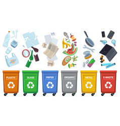 recycle waste bins different trash types color vector image
