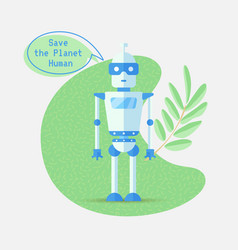 save the planet cartoon concept with robot vector image