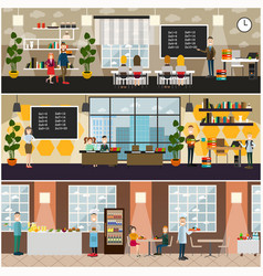 School concept flat poster set vector
