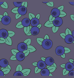 Seamless pattern with blueberries on a dark vector