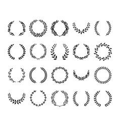 Set black greek wreaths and heraldic round vector