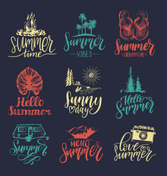 set hand lettering with summer vector image