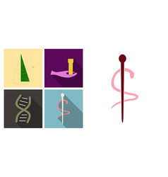 Set of medicine icons in flat style with shadow vector