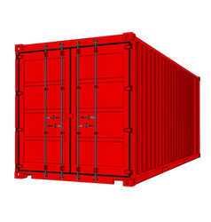 Shipping container isolated on white vector