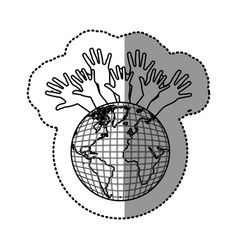 Silhouette earth planet connection hands up vector