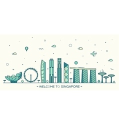 Skyline Singapore linear style vector image