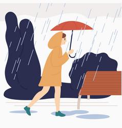 smiling girl with umbrella walk under rain vector image