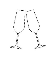 sparkling champagne glasses black dashed vector image