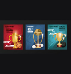 sports events trophy awards posters vector image