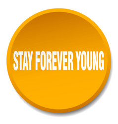 Stay forever young orange round flat isolated vector