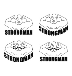 Strongman linear emblem vector