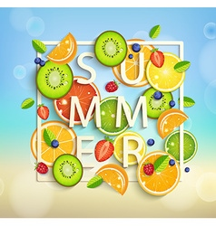 summer background with fruits and berries vector image