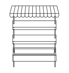 Supermarket shelves empty with three levels in vector