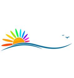 Symbol of color sun and sea vector