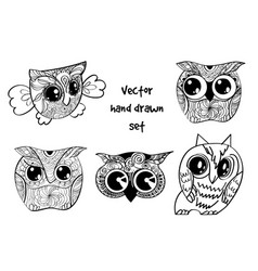 Tattoo henna owl set vector